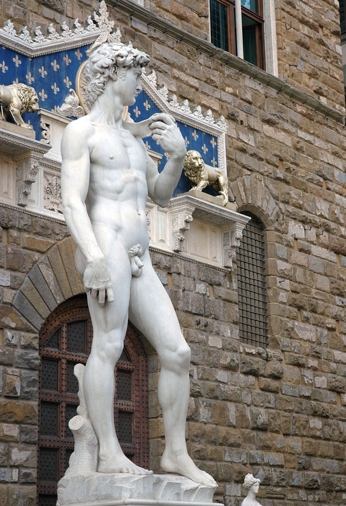 Michelangelo's David reproduction on Piazza della Signoria