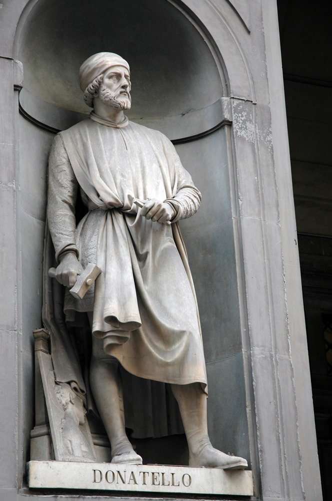 A statue of Donatello in the courtyard of the Uffizi in Florence.