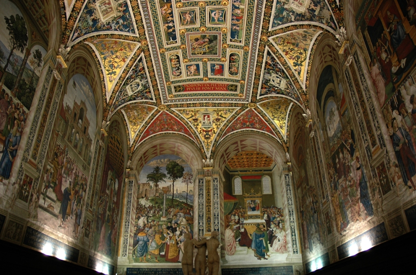 Frescoe scenes from the life of Pope Pius II cover the walls of the Piccolini Library inside Siena's Duomo.