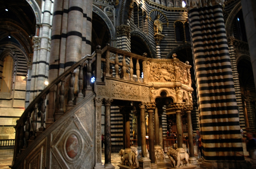Siena Duomo's pulpit designed by Nicola Pisano and carved from wood.