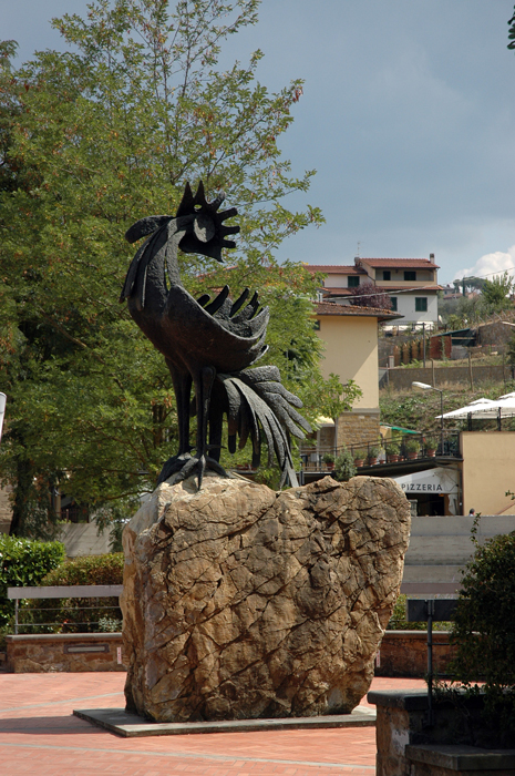 Chianti rooster statue in Greve, Italy
