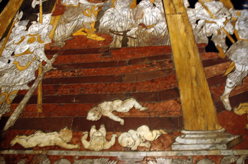 Slaughter of the Innocents floor panel designed by Sienese Matteo di Giovanni and inlaid with marble.