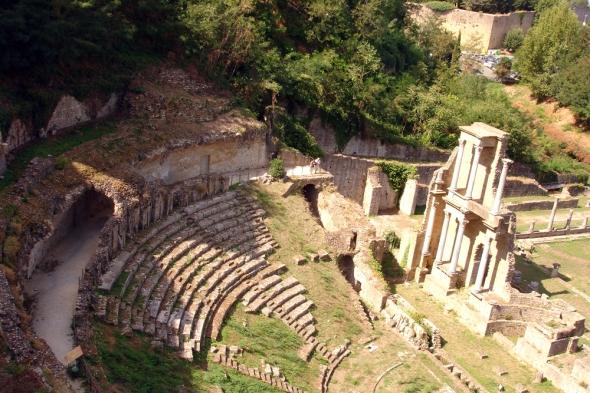 Roman theatre ruins in Volterra, Italy