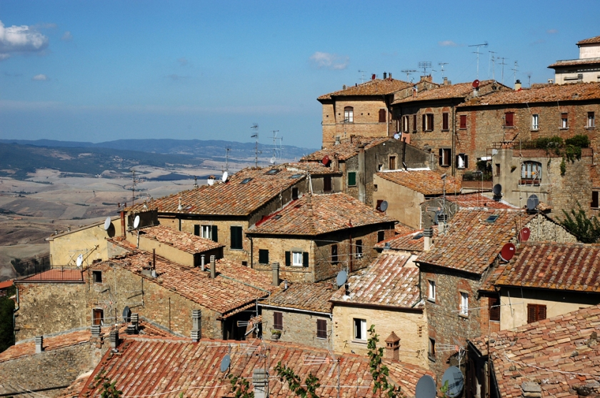 View of rooftops as we approach Volterra on foot.