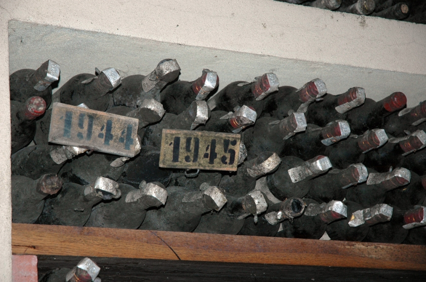 Wine bottle collection from 1944 and 1945