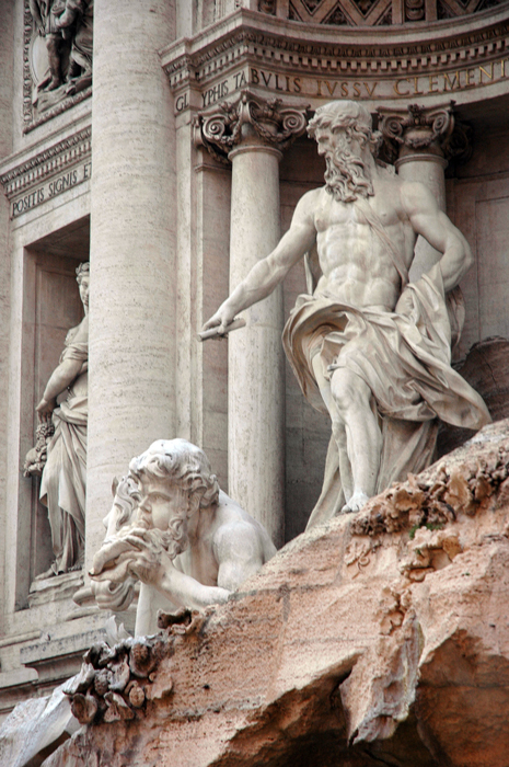 Close up of sculpture on the Trevi Fountain