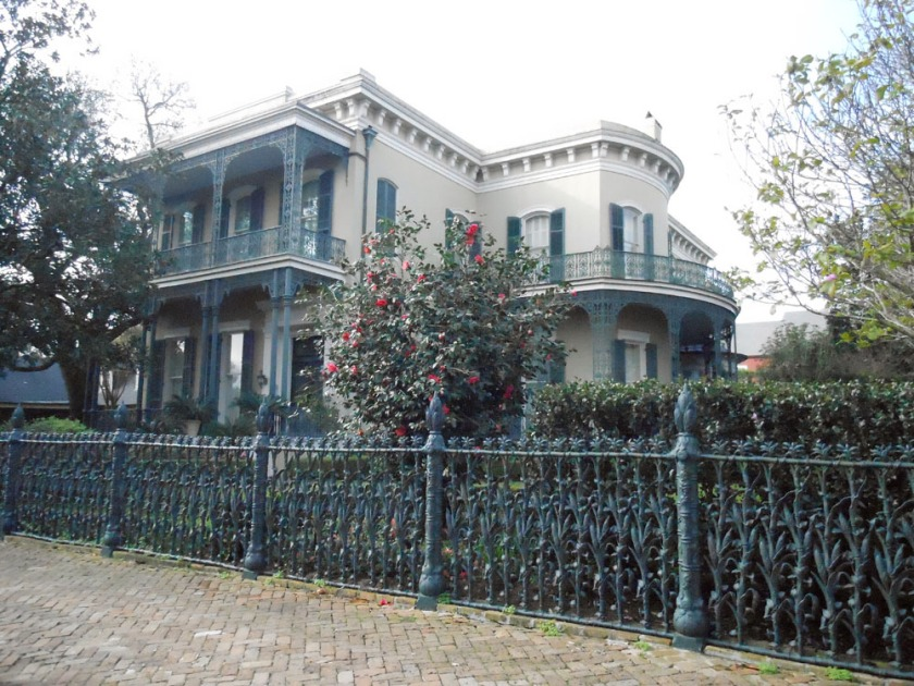 Colonel Short's villa, built 1859 with morning glory and cornstalk fence.