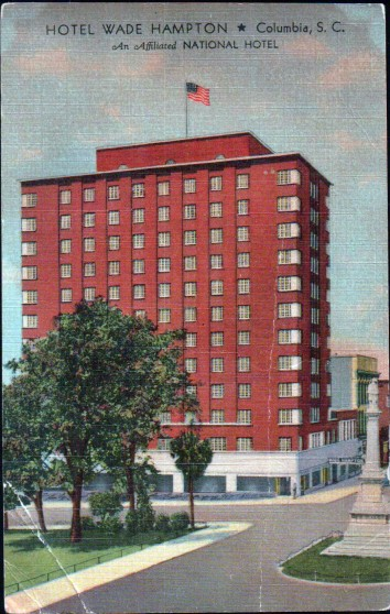 Wade Hampton Hotel post card - 1953